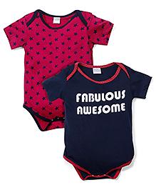 Babyhug Half Sleeves Onesie Star Print Set of 2 - Fuchsia And Navy