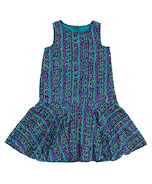 Teeny Tantrums Printed Fit & Flared Dress - Teal Blue