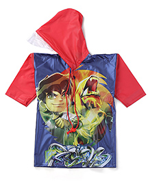 Ben 10 Printed Raincoat - Red And Navy