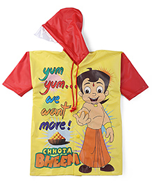 Chhota Bheem Printed Hooded Raincoat - Yellow