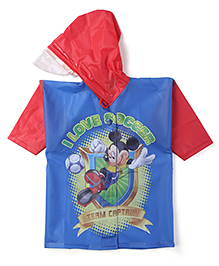 Mickey Hooded Raincoat - Blue And Red