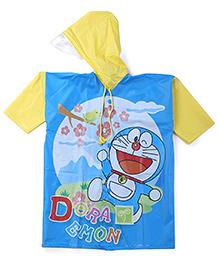 Doraemon Printed Hooded Raincoat - Yellow And Blue