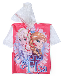 Disney Frozen Hooded Raincoat Anna And Elsa Print - Pink