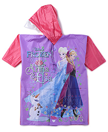 Disney Frozen Printed Hooded Raincoat - Purple