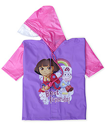 Dora Hooded Raincoat Best Friend Print - Purple