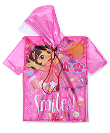 Dora Hooded Raincoat Smile Print - Pink