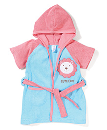 Pink Rabbit Hodded Bath Robe With Lion Patch - Blue & Pink