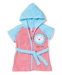 Pink Rabbit Hodded Bath Robe With Lion Patch - Pink & Blue