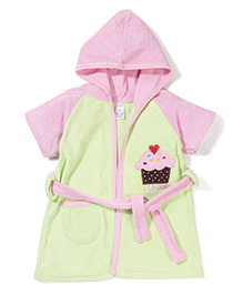 Pink Rabbit Hodded Bath Robe With Cupcake Patch - Light Green & Pink