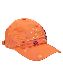 Babyhug Summer Cap Floral Print - Orange