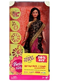 Barbie In India Doll - Black & Deep Pink Saree