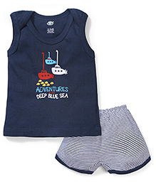 Zero Sleeveless Printed T-Shirt And Striped Shorts - Navy Blue And White