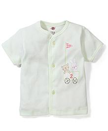 Zero Half Sleeves Vest Bunny Print - Cream