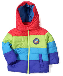 Babyhug Full Sleeves Hooded Quilted Jacket Train Patch - Multi Color