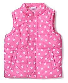 Babyhug Sleeveless Quilted Jacket Hearts Print - Pink