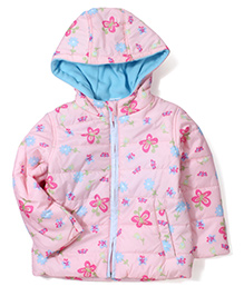 Babyhug Full Sleeves Hooded Quilted Jacket Butterfly Print - Pink