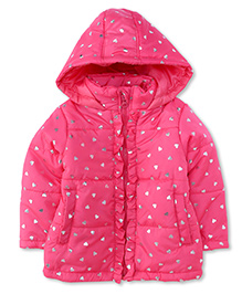 Babyhug Full Sleeves Hooded Jacket Heart Print - Pink