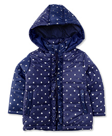 Babyhug Full Sleeves Hooded Jacket Star Print - Navy