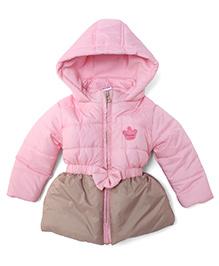 Babyhug Full Sleeves Hooded Jacket Princess Patch - Pink Beige