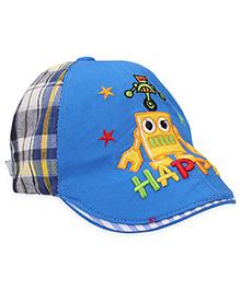 Babyhug Cap Happy Print - Blue and Yellow