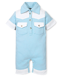 Kate Quinn Romper With Front Pockets - Blue