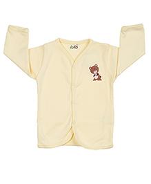 Lula Full Sleeves Vest Bear Print - Light Yellow