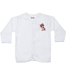 Lula Full Sleeves Vest Bear Print - White