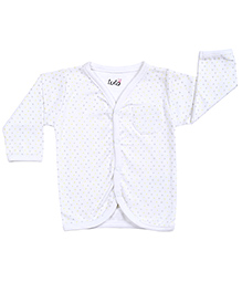Lula Full Sleeves Vest Polka Dots Print - White