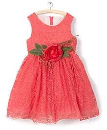 Whitehenz ClothingBig Floral Aplique Dress - Carrot Pink