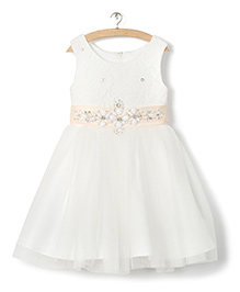 Whitehenz Clothing Sequins Dress With Belt - Beige & White