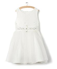 Whitehenz ClothingWith White Belt Sequins Dress - White