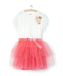 Whitehenz ClothingRose Applique Top And Skirt Set - Pink & White