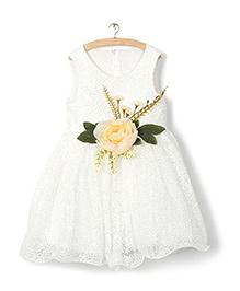 Whitehenz ClothingBig Floral Aplique Dress - White