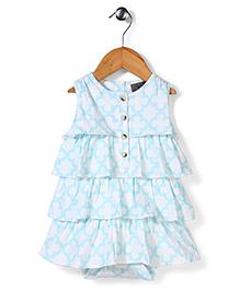 Kate Quinn Floral Print Dress - White & Blue