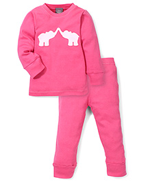 Kate Quinn Elephant Print Night Suit - Pink