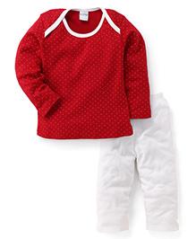 Babyhug Full Sleeves Top And Pajama Night Suit Set - Red White