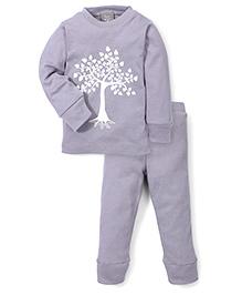 Kate Quinn Tree Print Night Suit - Grey