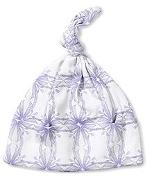 Kate Quinn Floral Print Knot Hat - White & Purple