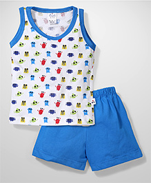 Simply Sleeveless Printed T-Shirt And Shorts - White And Blue