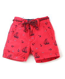 Vitamins Shorts with Rope Belt Boats Print - Red