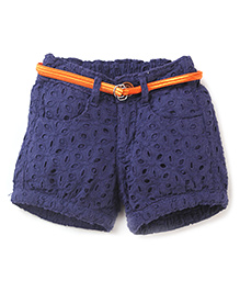 Vitamins Shorts With Belt Hakoba Pattern - Blue
