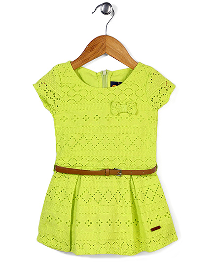 Vitamins Short Sleeves Frock With Belt - Green