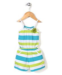 Vitamins Jumpsuit Stripes Print - Green and Blue