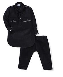 Babyhug Full Sleeves Pathani Style Kurta Pajama Set - Black