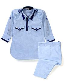 Babyhug Full Sleeves Pathani Style Kurta Pajama Set - Sky Blue