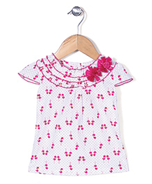 Babyhug Cap Sleeves Printed Top With Floral Appliques - White And Pink