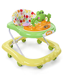 Musical Baby Walker With Inbuilt Play Tray - Yellow & Green