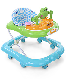 Musical Baby Walker With Frog Toy Play Tray - Blue & Green