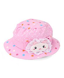 Babyhug Cap Dotted Bucket Cap - Pink