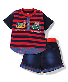 Wow Striped With Patched T-Shirt & Denim Shorts Set - Red & Navy